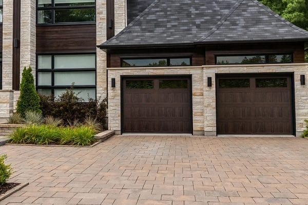 Double wood garage door installation