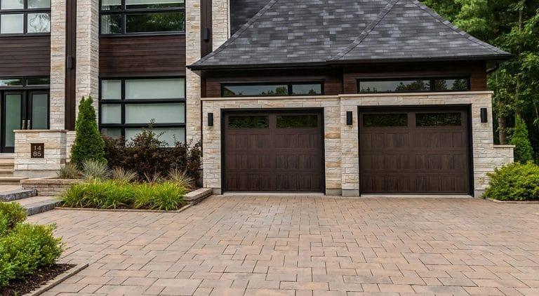 Double wood garage door installation